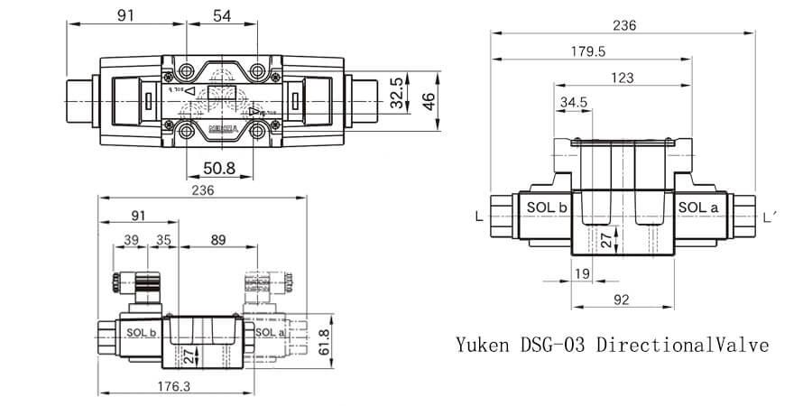 YUKEN solenoid coil dimensions
